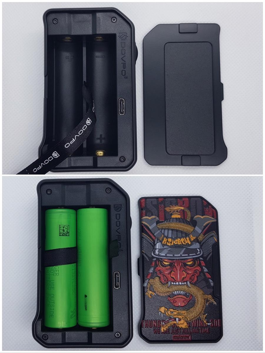 Dovpo M VV II box mod inside the battery cover