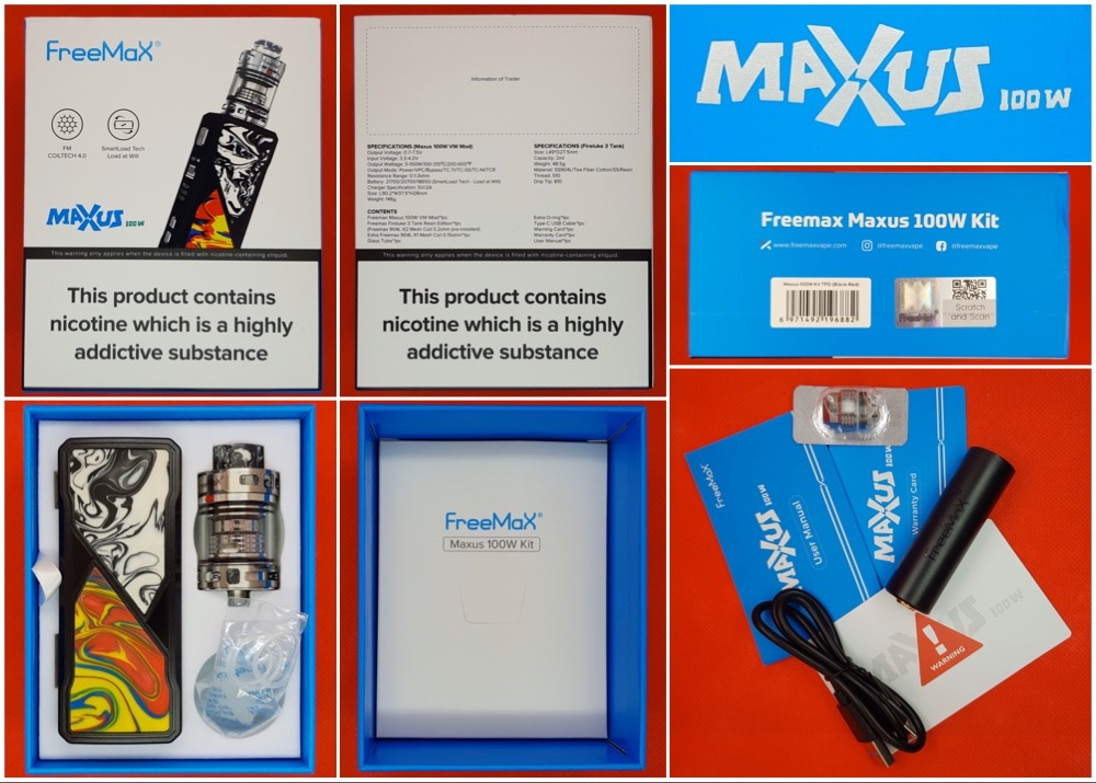FreeMax Maxus 100w kit Packaging and contents