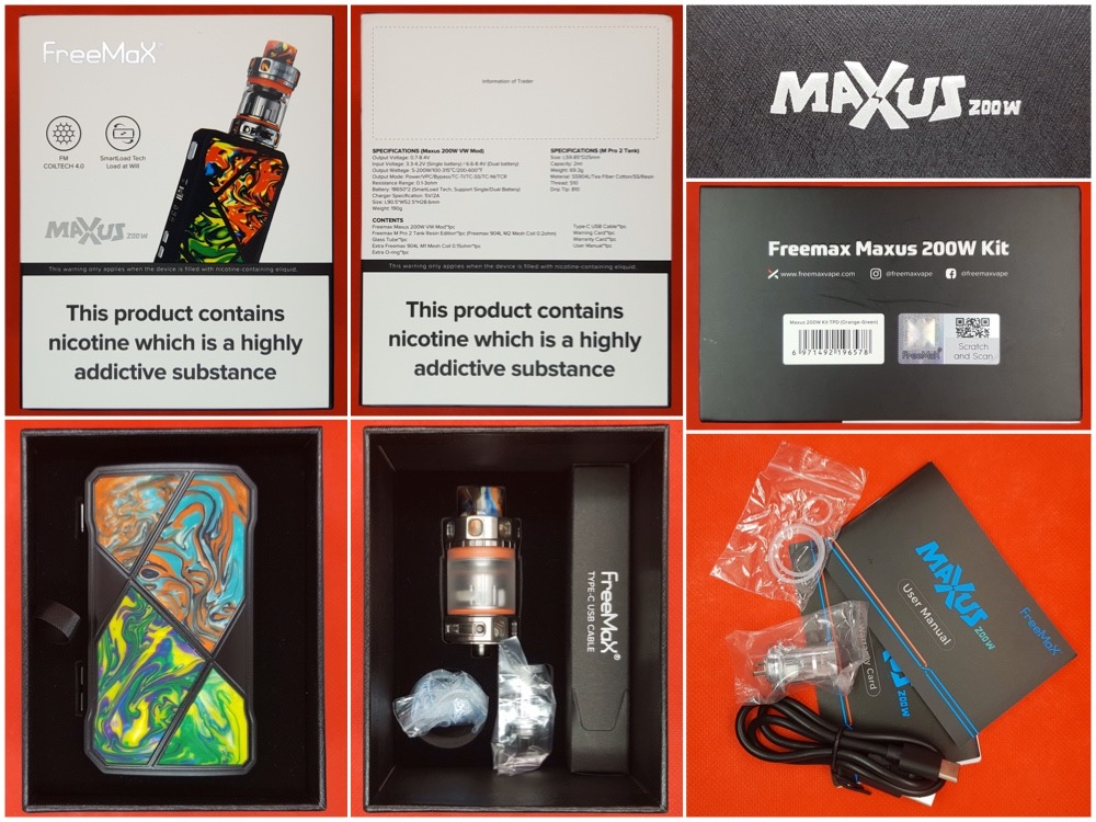 FreeMax Maxus 200w kit specs and contents