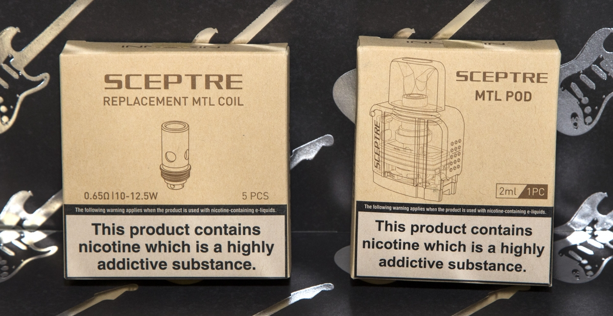 Innokin Sceptre MTL Edition pod and coil green packaging
