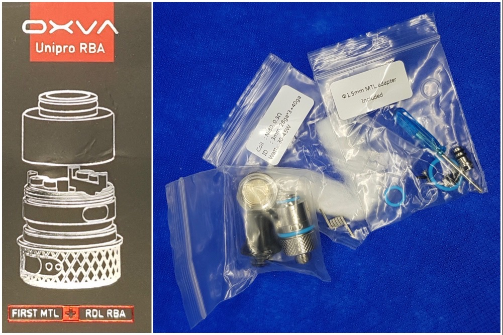 OXVA Velocity 2 in 1 kit RBA packaging and contents